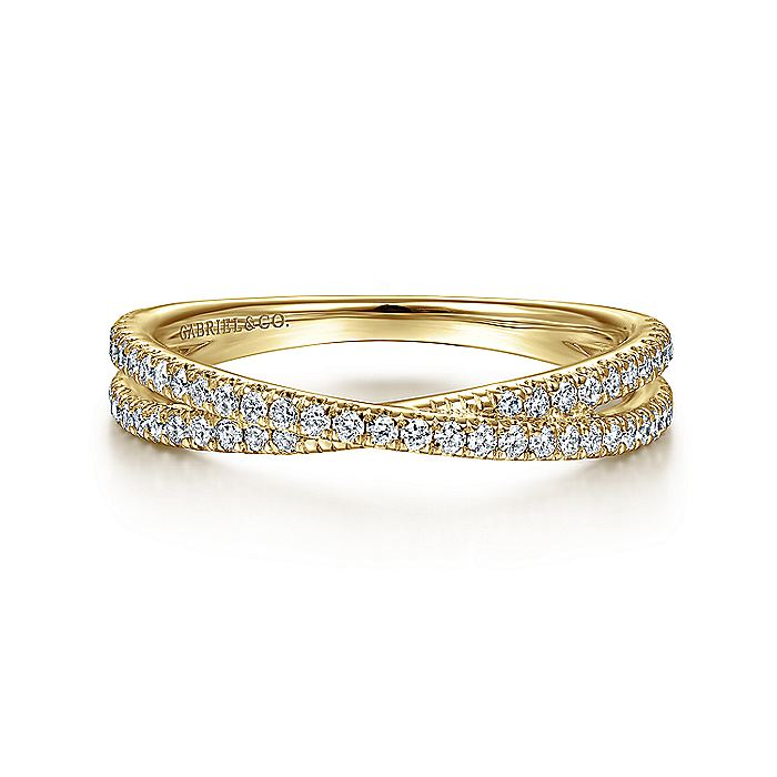 14K Yellow Gold Criss Cross Diamond Stackable Ring