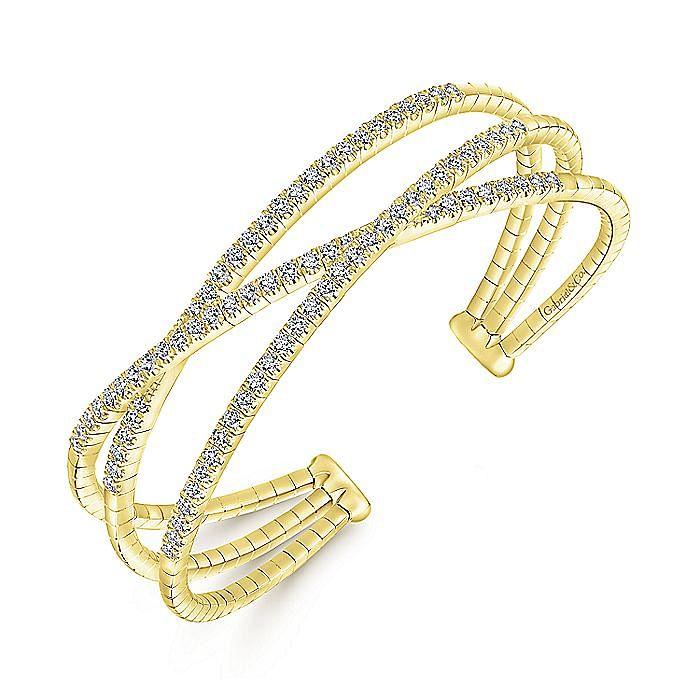 14K Yellow Gold Criss Crossing Diamond Cuff