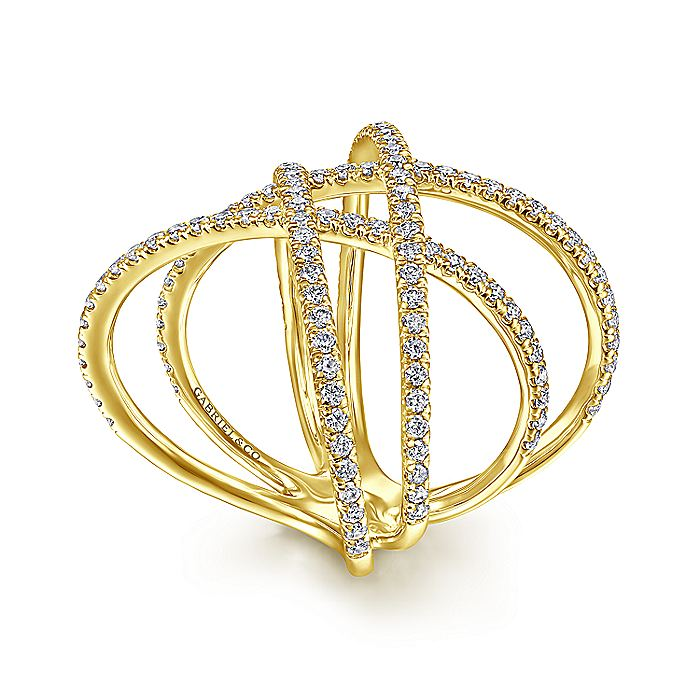 14K Yellow Gold Criss Crossing Multi Row Wide Ring