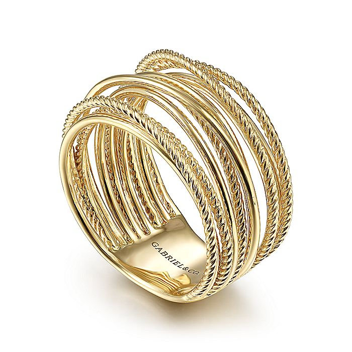 14K Yellow Gold Criss Crossing Twisted Rope Ring
