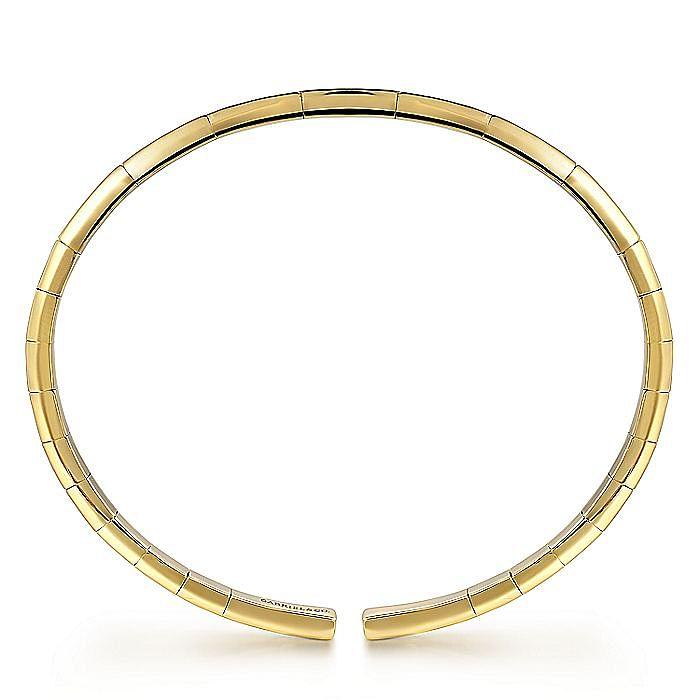 14K Yellow Gold Cuff Bracelet with Diamond Inner Channel