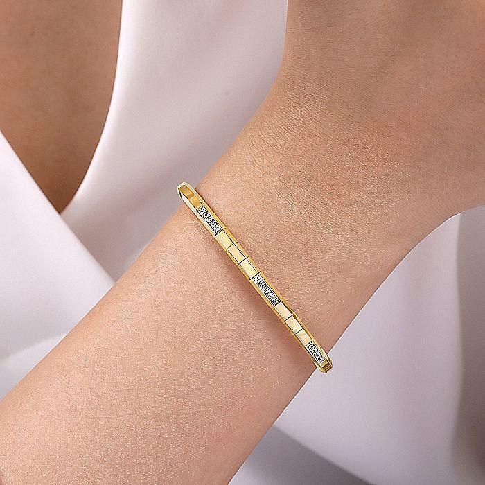 14K Yellow Gold Cuff Bracelet with Diamond Pavé Stations