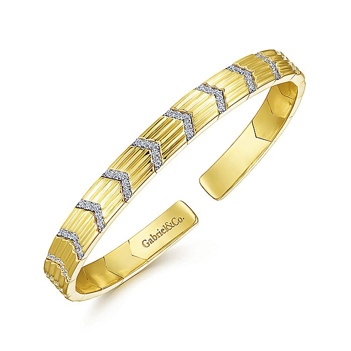 14K Yellow Gold Cuff Bracelet with Pavé Diamond Chevron Stations