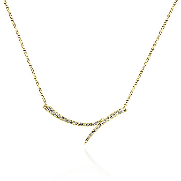 14K Yellow Gold Curved Bypass Bar Necklace with Diamonds