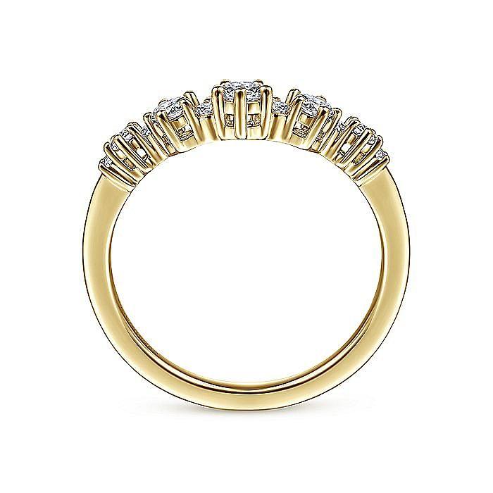 14K Yellow Gold Curved Diamond Anniversary Band