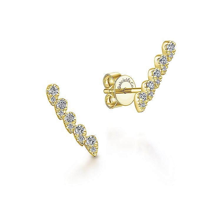 14K Yellow Gold Curved Diamond Bar Stud Earrings