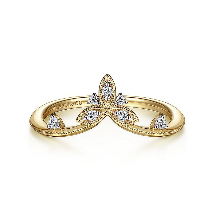 14K Yellow Gold Curved Diamond Ring