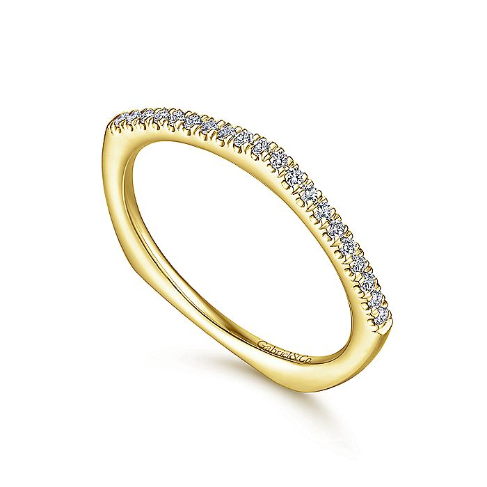 14K Yellow Gold Curved Diamond Stackable Band