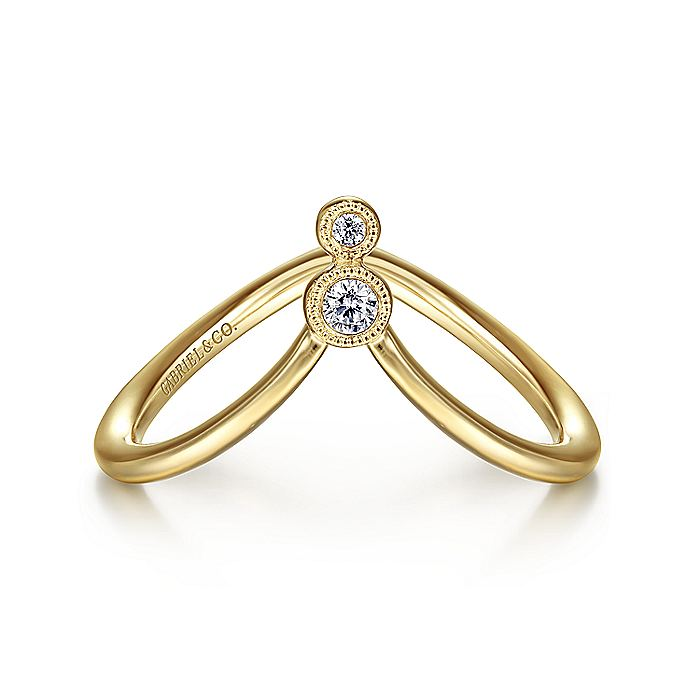 14K Yellow Gold Curved Diamond V Ring