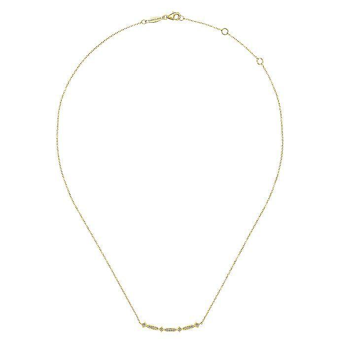 14K Yellow Gold Curved Geometric Diamond Bar Necklace