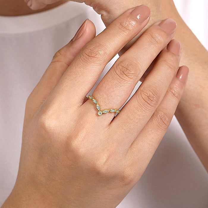 14K Yellow Gold Curved Marquise Station Diamond Ring
