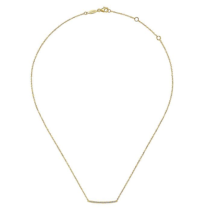 14K Yellow Gold Curved Pavé Diamond Bar Necklace