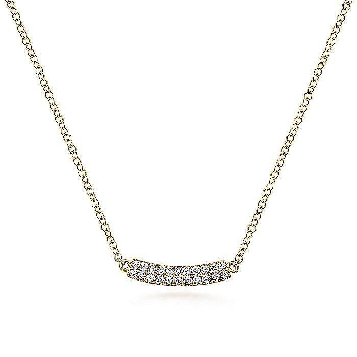 14K Yellow Gold Curved Pavé Diamond Bar Necklace
