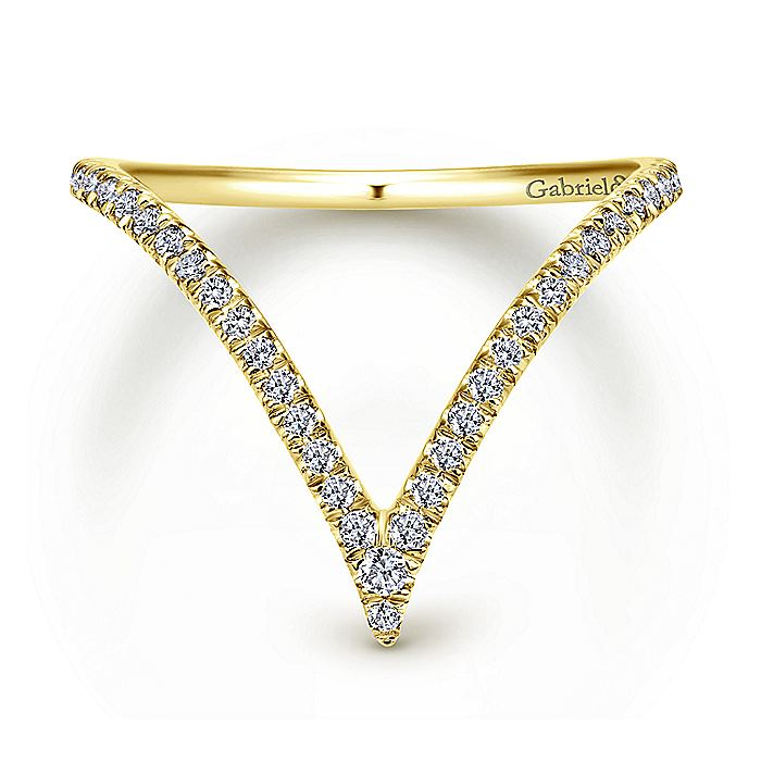 14K Yellow Gold Curved Pavé Diamond V Ring