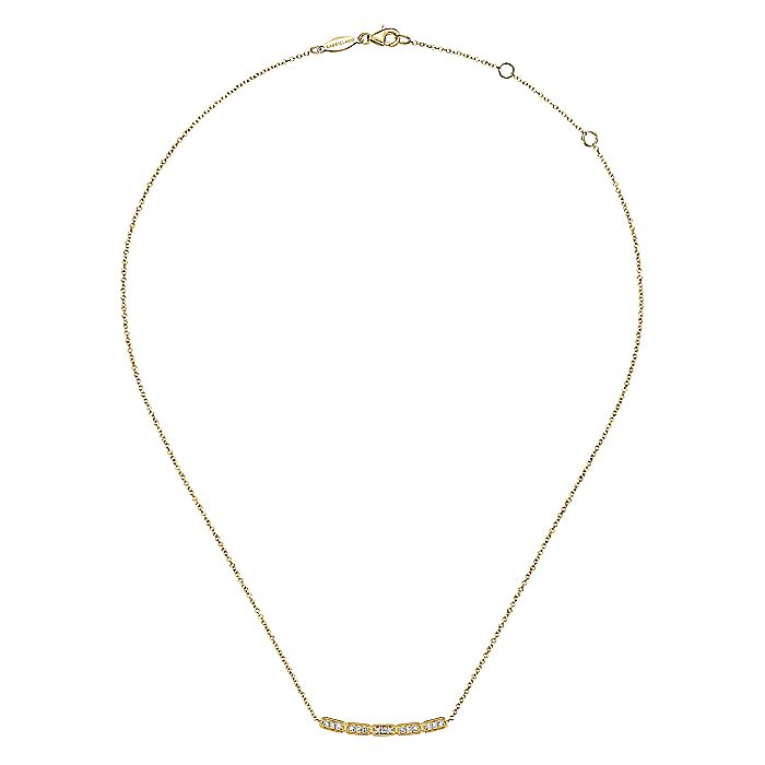 14K Yellow Gold Curved Rectangular Station Bar Necklace with Diamonds