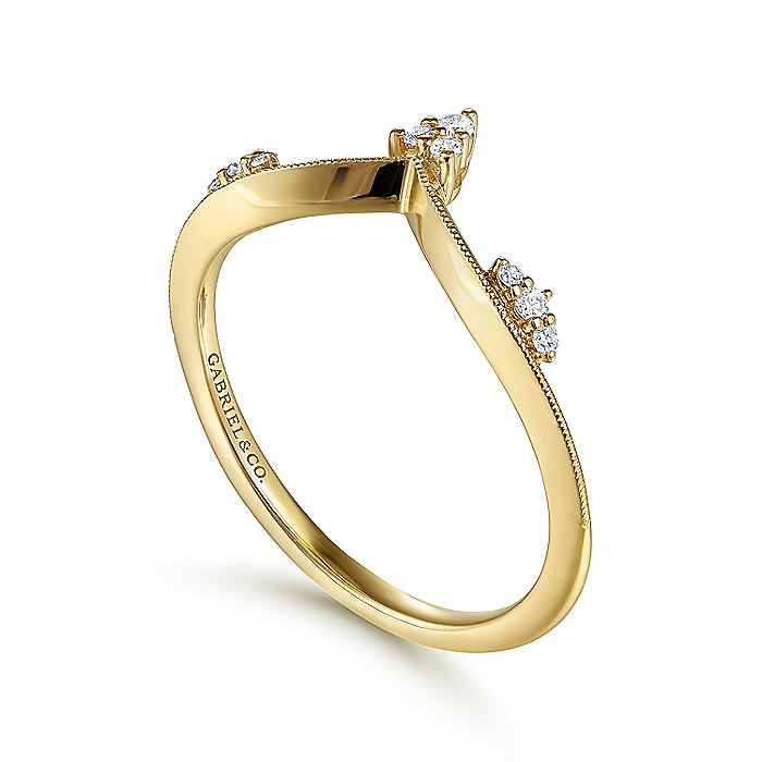 14K Yellow Gold Curved V Diamond Ladies Ring