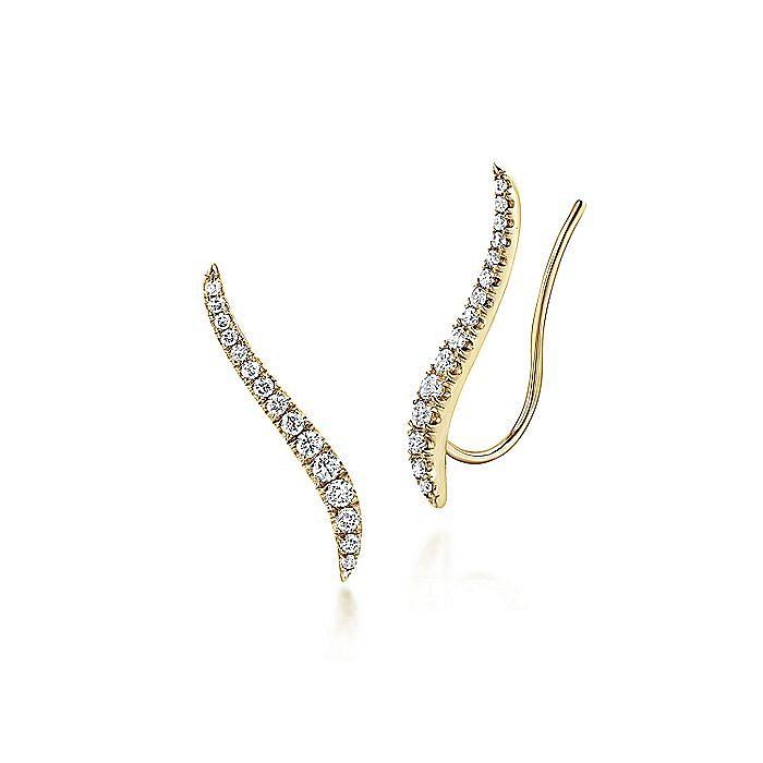 14K Yellow Gold Curving Bar Ear Crawler Diamond Earrings