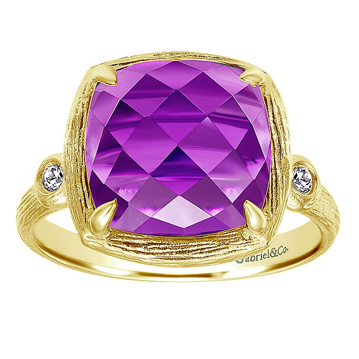 14K Yellow Gold Cushion Amethyst and Diamond Accents Ring