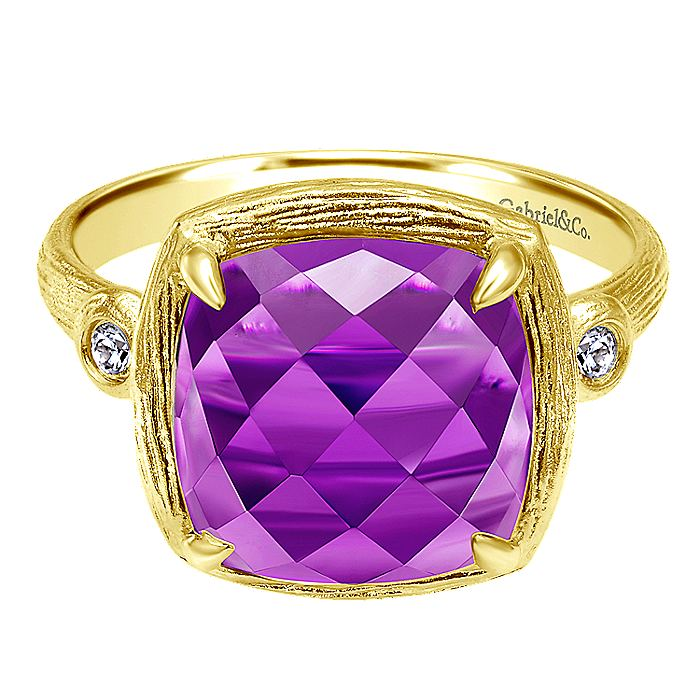 14K Yellow Gold Cushion Cut Amethyst and Diamond Ring