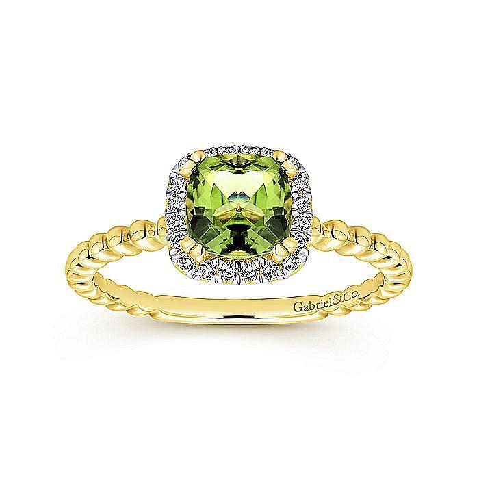 14K Yellow Gold Cushion Cut Peridot and Diamond Halo Ring