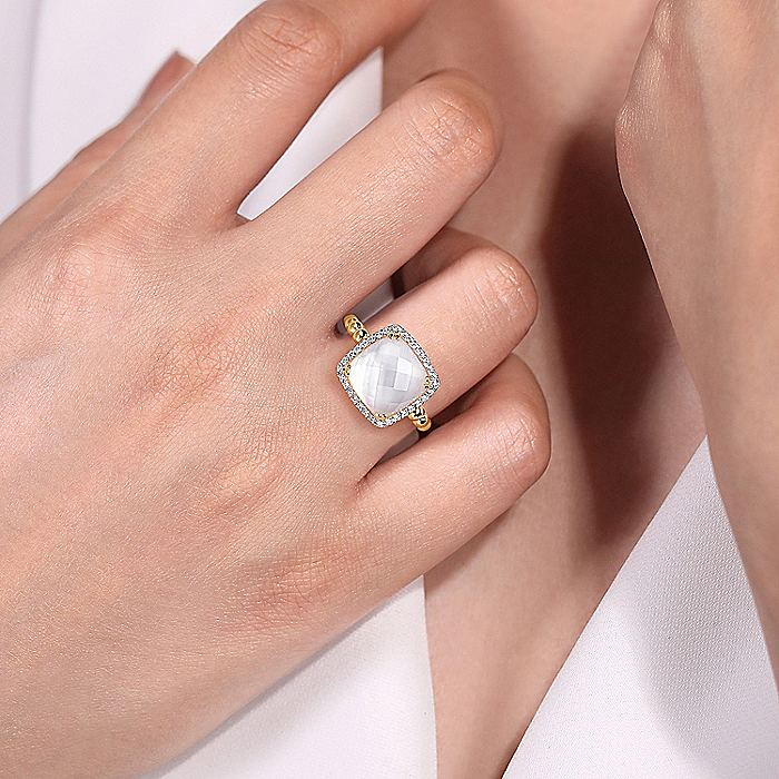 14K Yellow Gold Cushion Cut Rock Crystal/MOP and Diamond Halo Ring