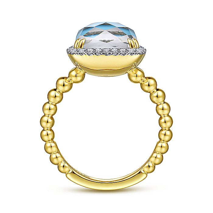 14K Yellow Gold Cushion Cut Rock Crystal/Turquoise and Diamond Halo Ring