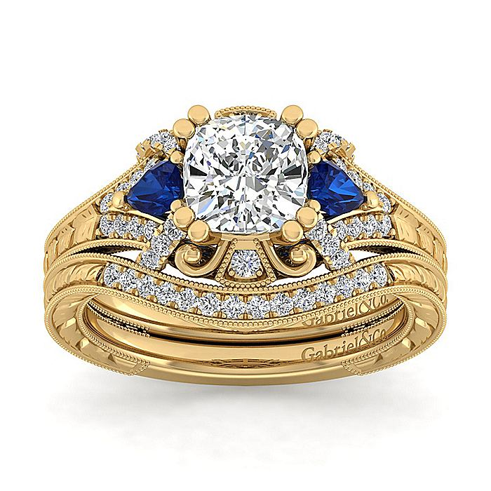 14K Yellow Gold Cushion Cut Sapphire and Diamond Engagement Ring