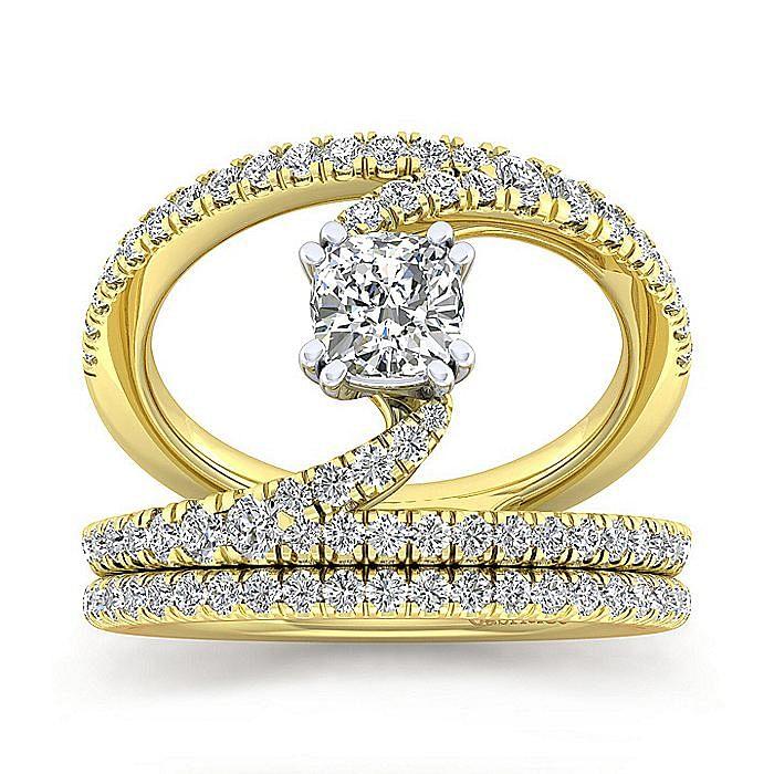 14K Yellow Gold Cushion Cut Split Shank Diamond Engagement Ring