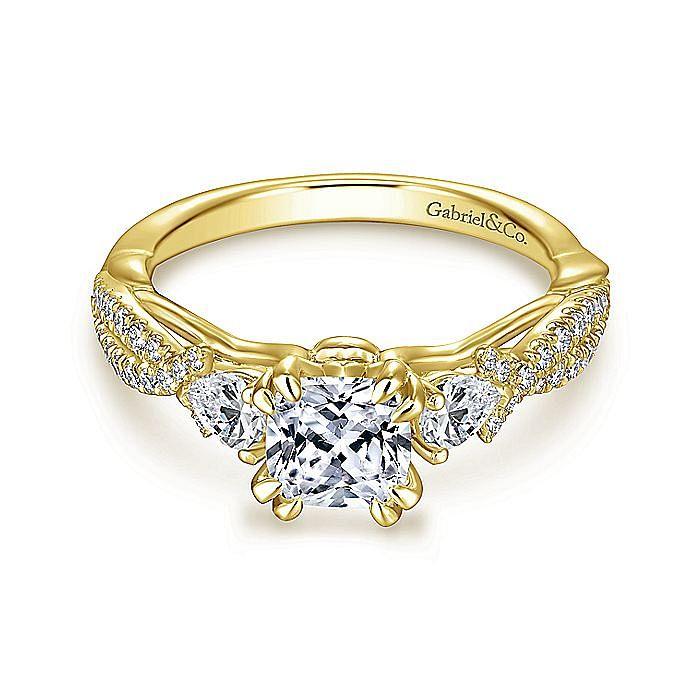 14K Yellow Gold Cushion Cut Three Stone Diamond Engagement Ring