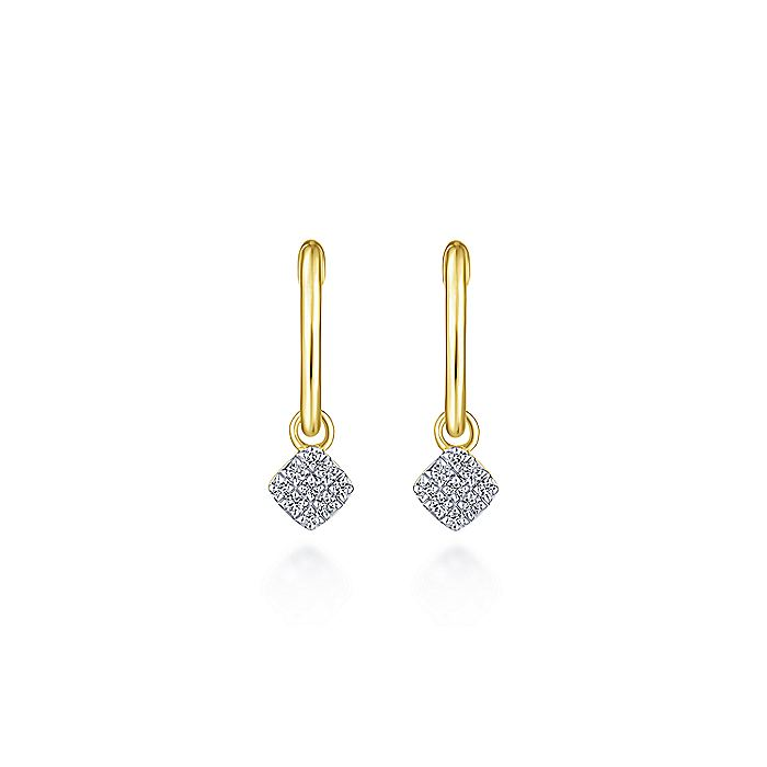 14K Yellow Gold Cushion Cut pave 10mm Diamond Drop Earrings
