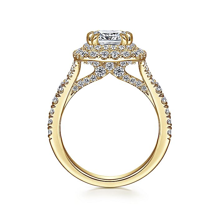 14K Yellow Gold Cushion Double Halo Diamond Engagement Ring