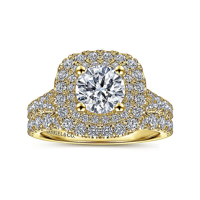 14K Yellow Gold Cushion Double Halo Round Diamond Engagement Ring