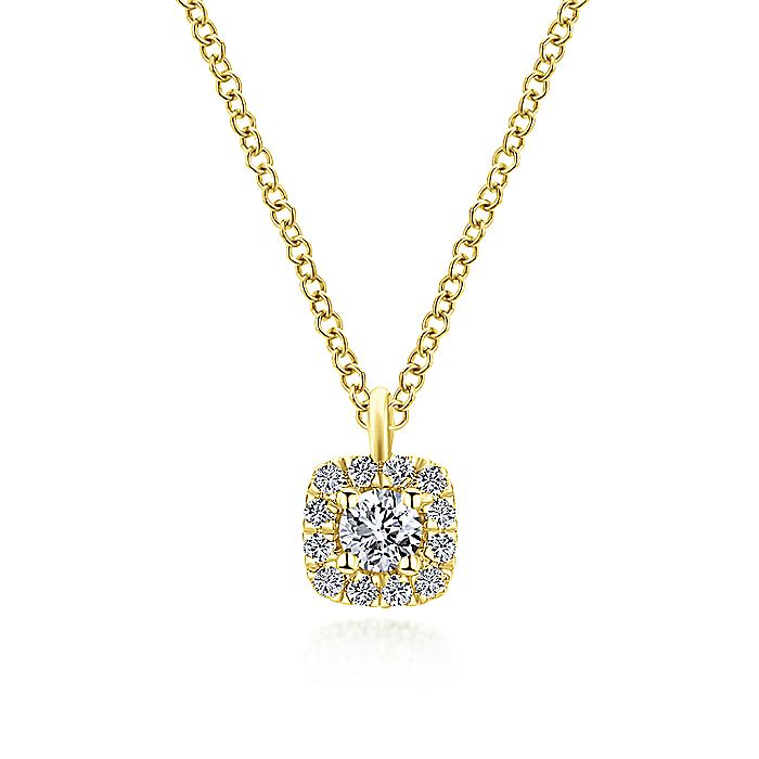14K Yellow Gold Cushion Halo Round Diamond Pendant Necklace