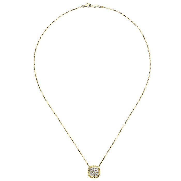 14K Yellow Gold Cushion Shape Diamond Pavé Pendant Necklace