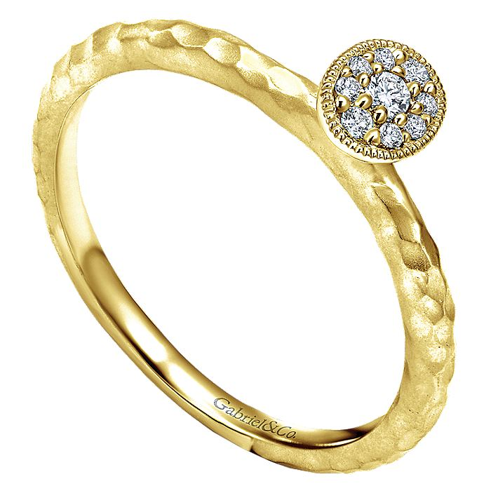 14K Yellow Gold Dainty Hammered Ring with Oval Diamond Cluster