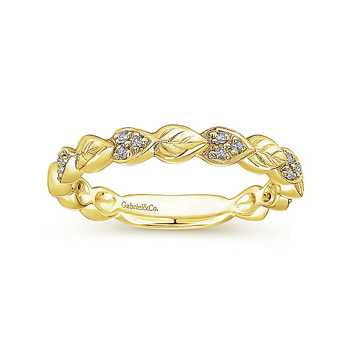 14K Yellow Gold Delicate Leaf Stackable Diamond Band