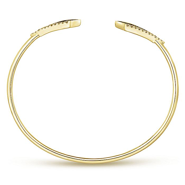 14K Yellow Gold Diamond & Black Mother of Pearl Bangle