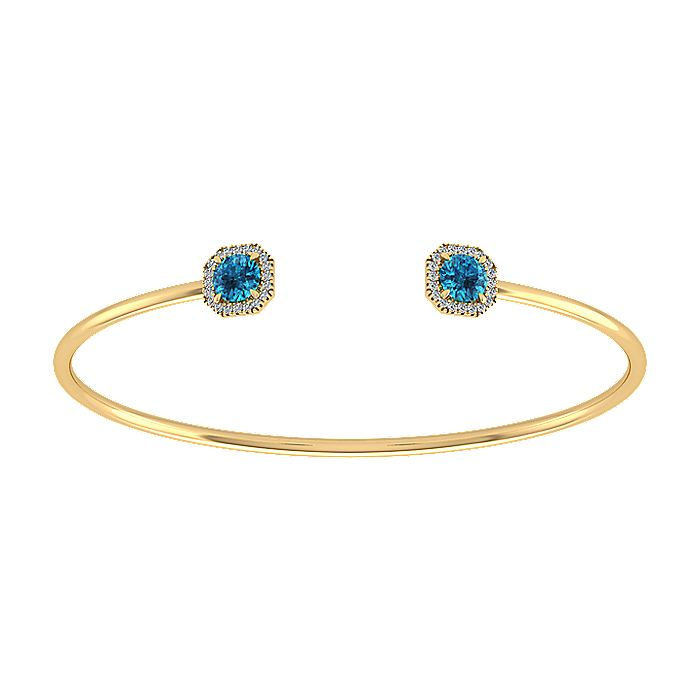 14K Yellow Gold Diamond & Blue Topaz Bangle