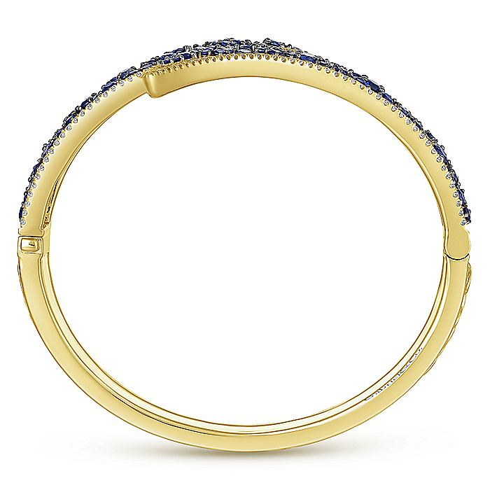 14K Yellow Gold Diamond & Sapphire Bangle