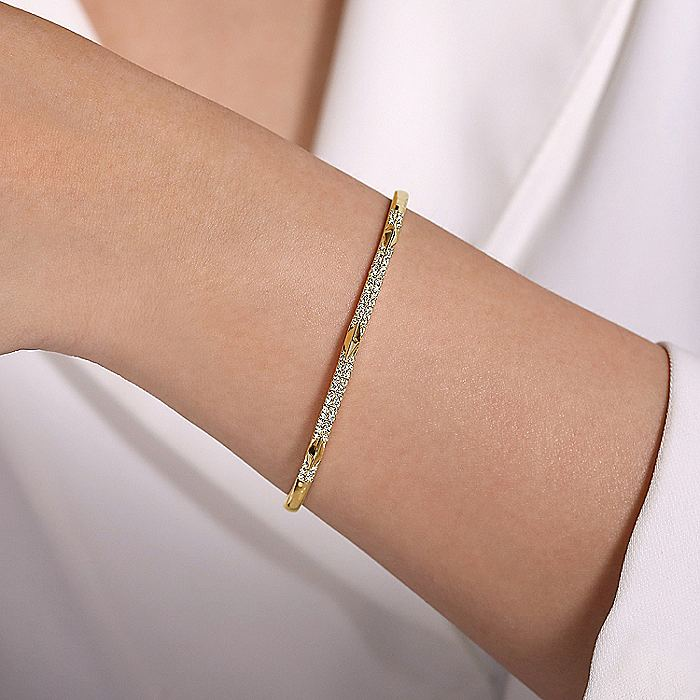 14K Yellow Gold Diamond Bangle with Pyramid Rhombus Stations