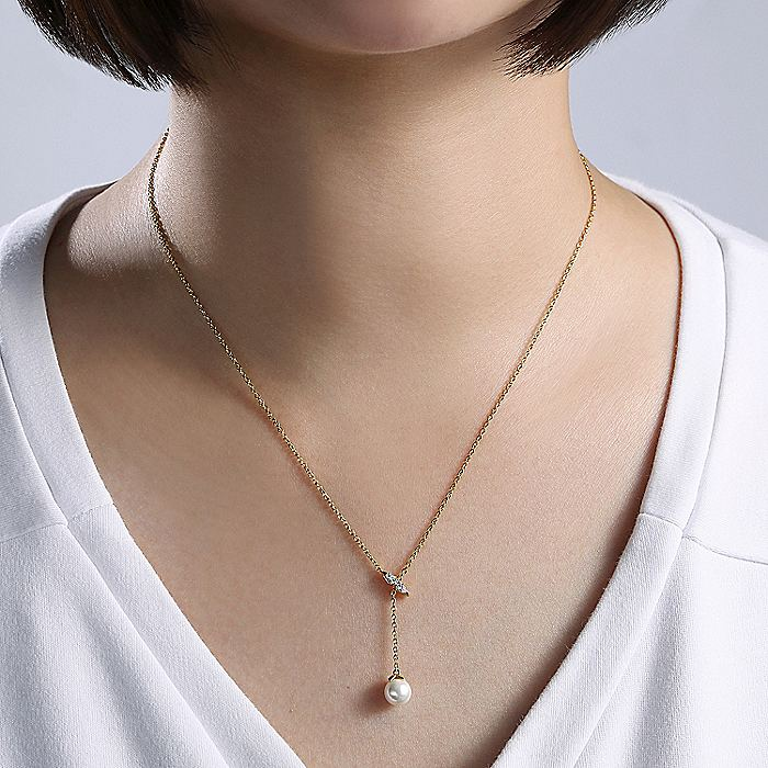 14K Yellow Gold Diamond Bar Y Necklace with Cultured Pearl Drop