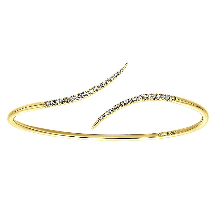 14K Yellow Gold Diamond Bypass Open Bangle