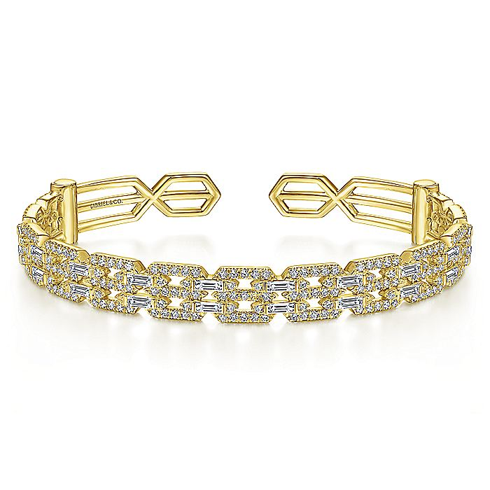 14K Yellow Gold Diamond Chain Link Cuff Bracelet with Diamond Baguette Spacers
