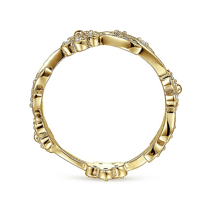 14K Yellow Gold Diamond Floral Contoured Stackable Ring