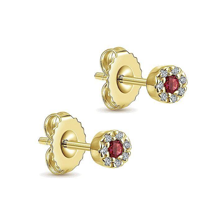14K Yellow Gold Diamond Halo Ruby Stud Earrings