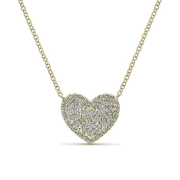 14K Yellow Gold Diamond Heart Pendant Necklace