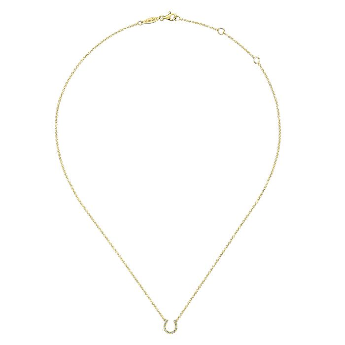 14K Yellow Gold Diamond Horseshoe Pendant Necklace
