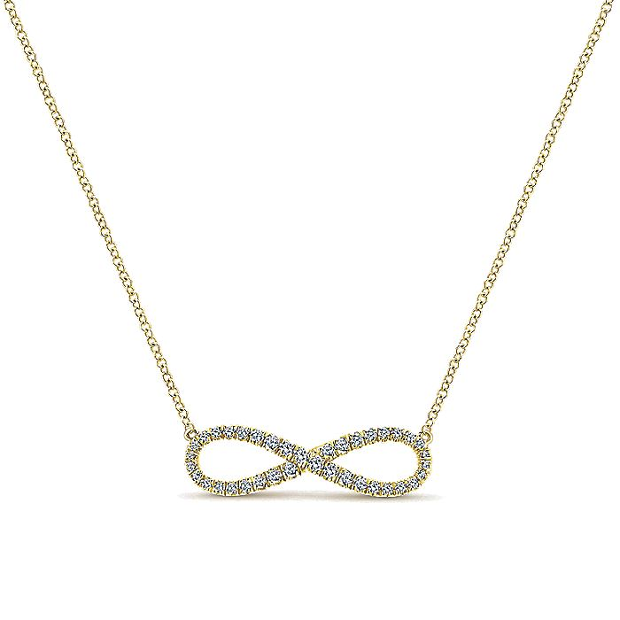14K Yellow Gold Diamond Infinity Symbol Pendant Necklace