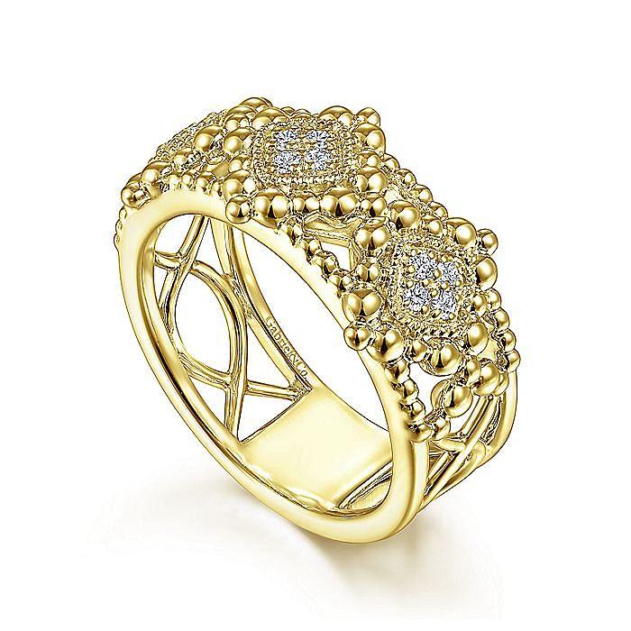 14K Yellow Gold Diamond Ladies' Ring