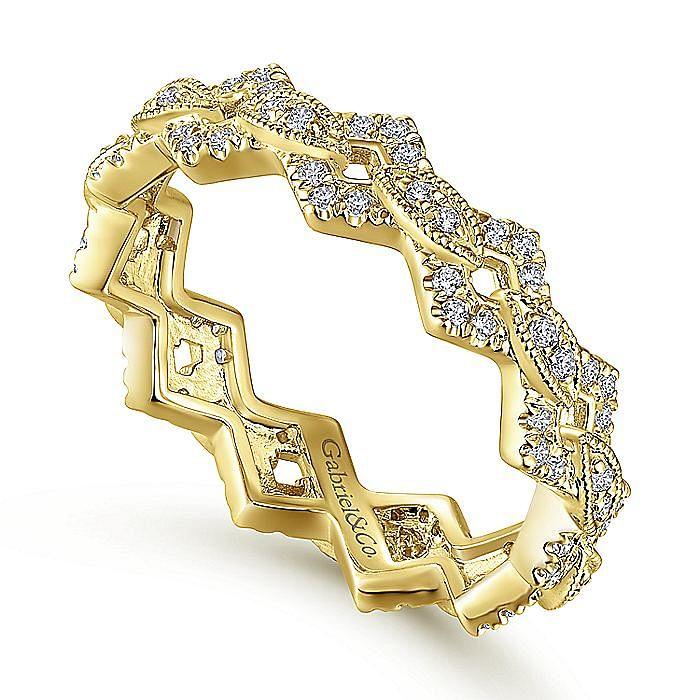 14K Yellow Gold Diamond Link Eternity Ring